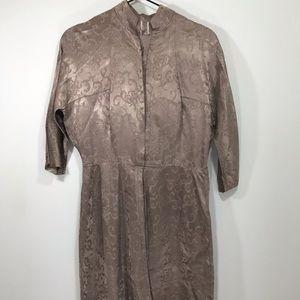 Vintage handmade taupe silky dress